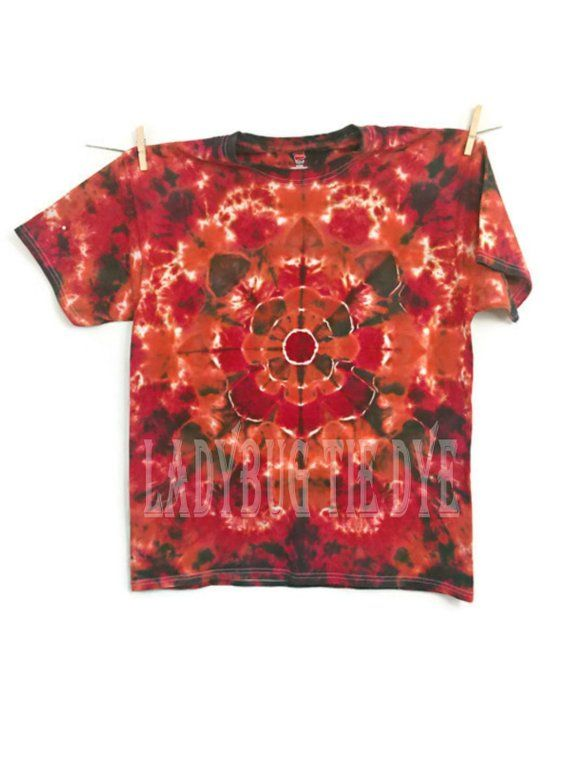 0550e42d72096 Psychedelic tie dye shirt - 50th birthday gift for men - Red and ...