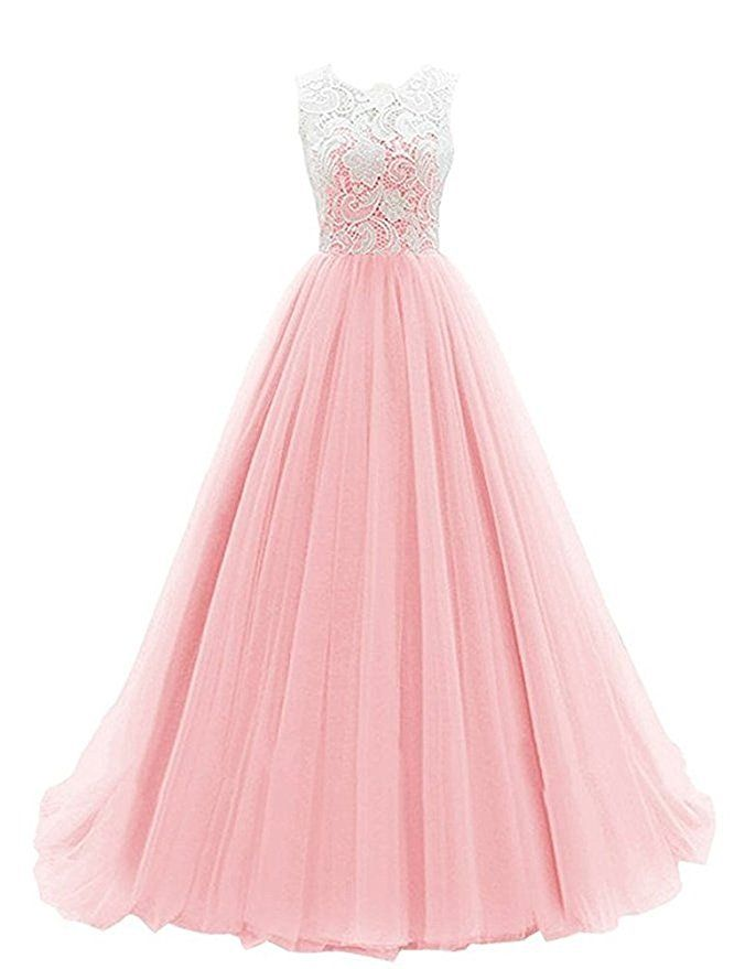 Amazon.com: Womens Long Vintage Party Dress in Pink with A-line ...