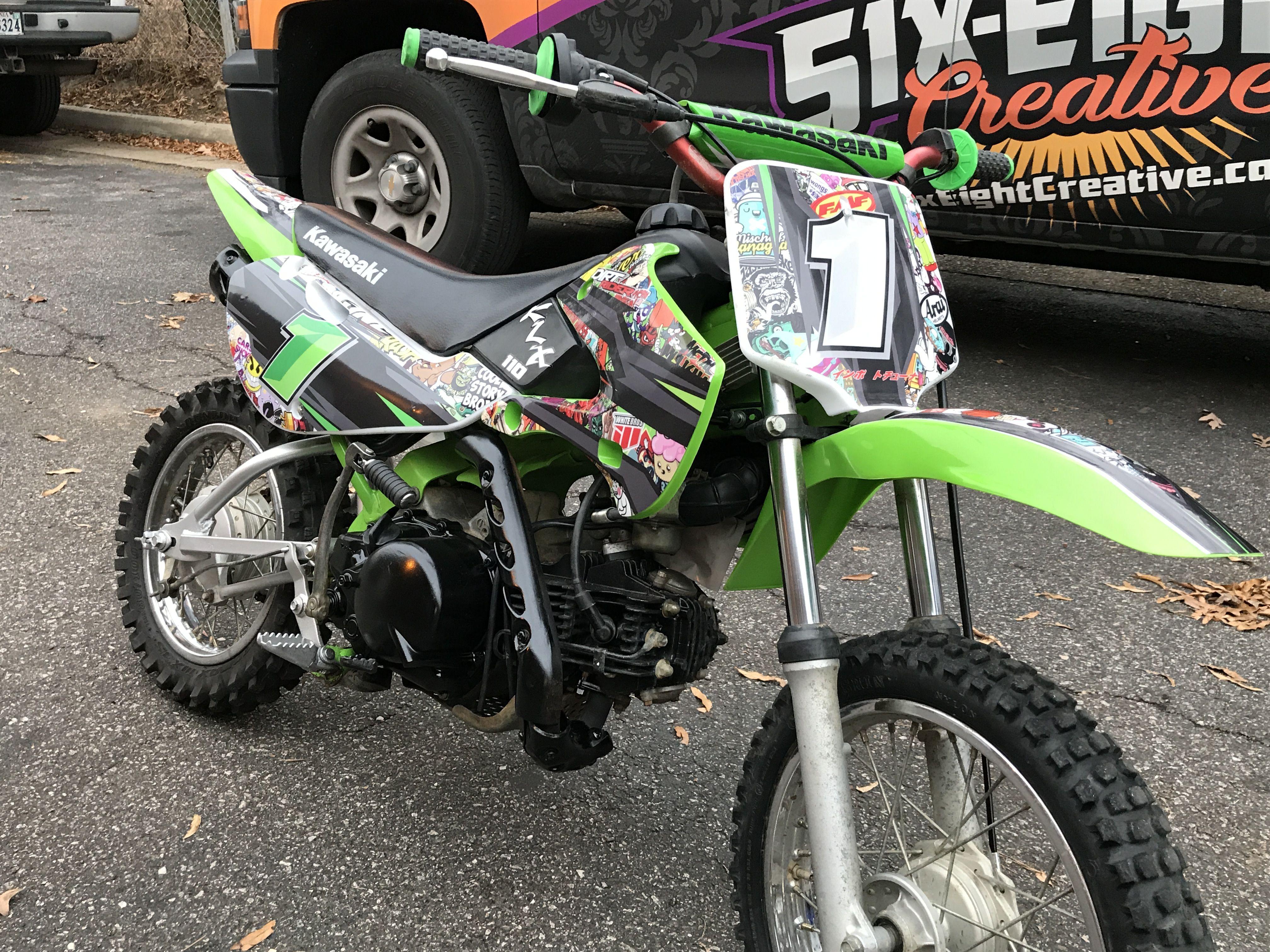 Custom designed sticker bomb dirt bike graphics designed installed by six eight creative richmond va