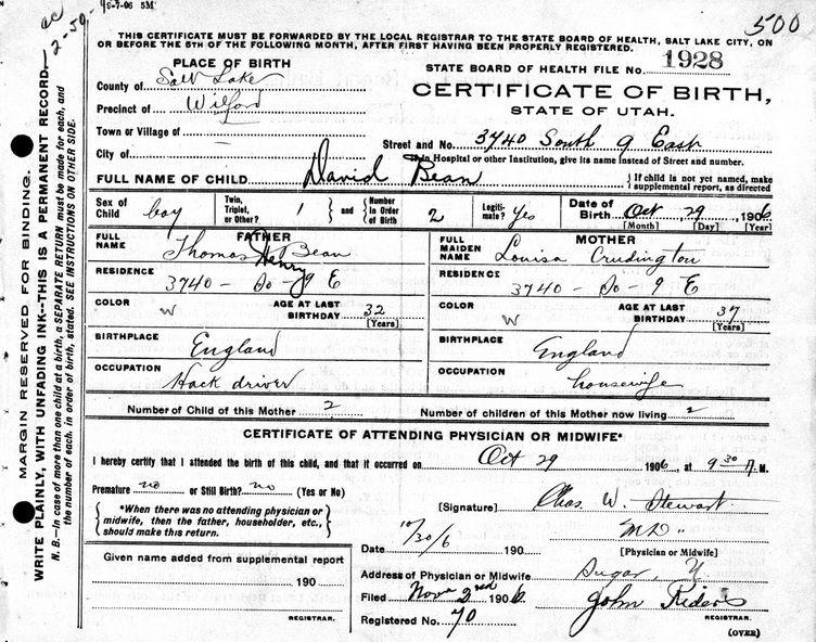 David Bean Birth Cert Utah 1906 Crudgington Family History