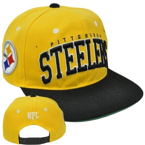 254206fea6d NFL Team Apparel SB400 Pittsburgh Steelers Flat Bill Snapback Football Cap  Hat by NFL.  17.99. 100% Acrylic. Adjustable. Brand New Item with Tags.