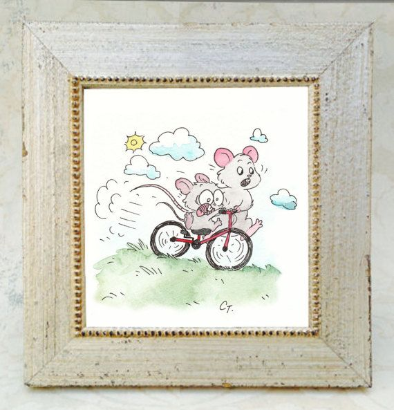 Lean On Me  Mice Art Print by CostumeCrittersShop on Etsy