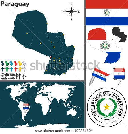 Vector map of paraguay with regions coat of arms and location on vector map of paraguay with regions coat of arms and location on world map gumiabroncs