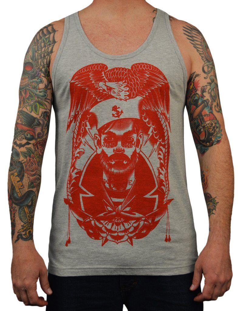 Men's Sink or Swim by Charlie Coffin Tattooed Sailor Nautical Tank Top – moodswingsonthenet