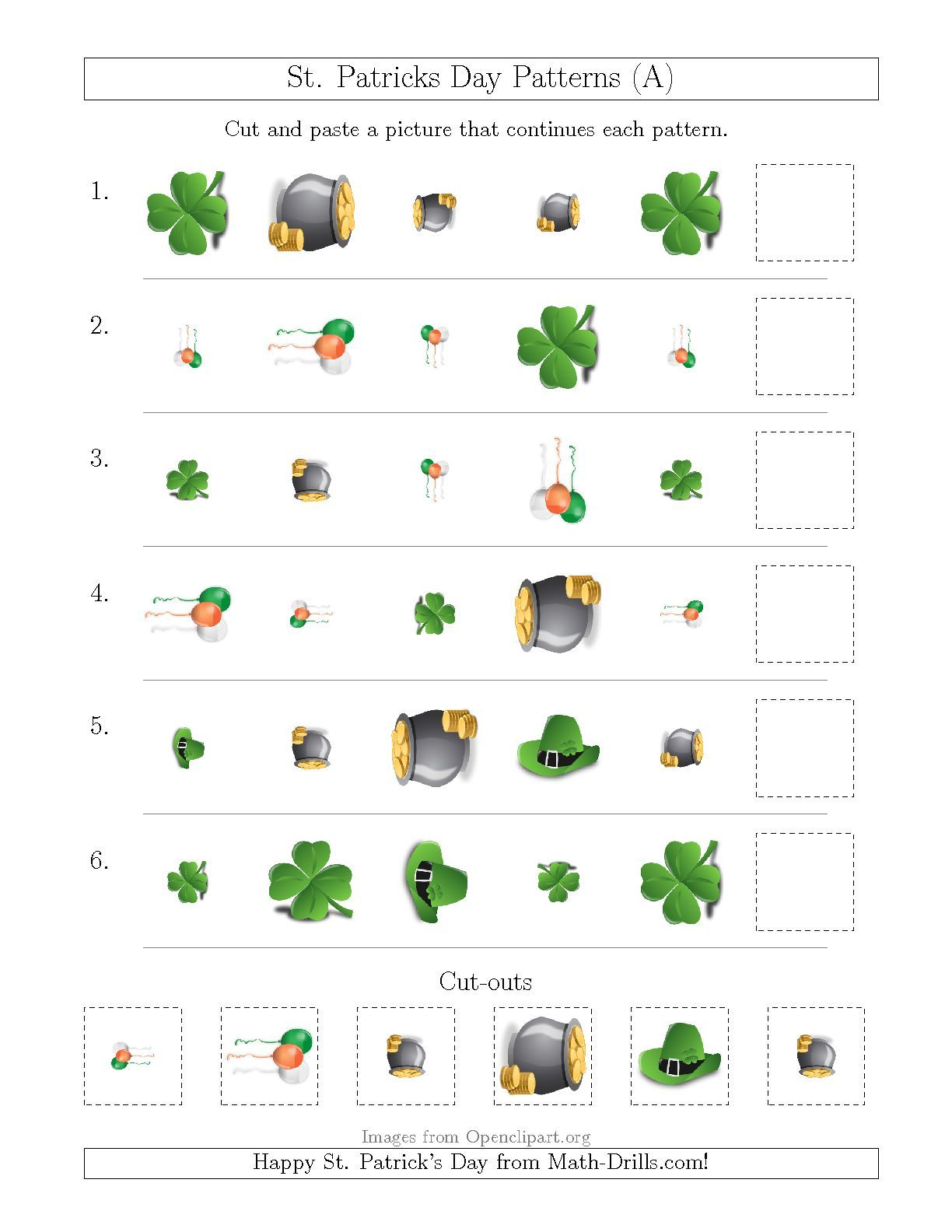 New St Patrick S Day Picture Patterns With Shape Size