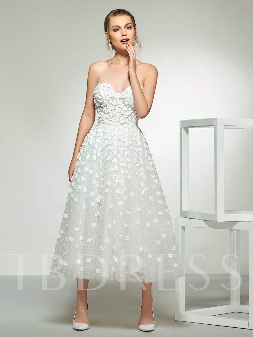 Sweetheart Flowers TeaLength Wedding Dress 2019