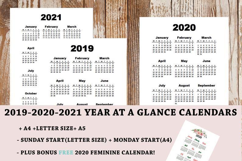 201920202021 Printable Calendar Year at a glance A4