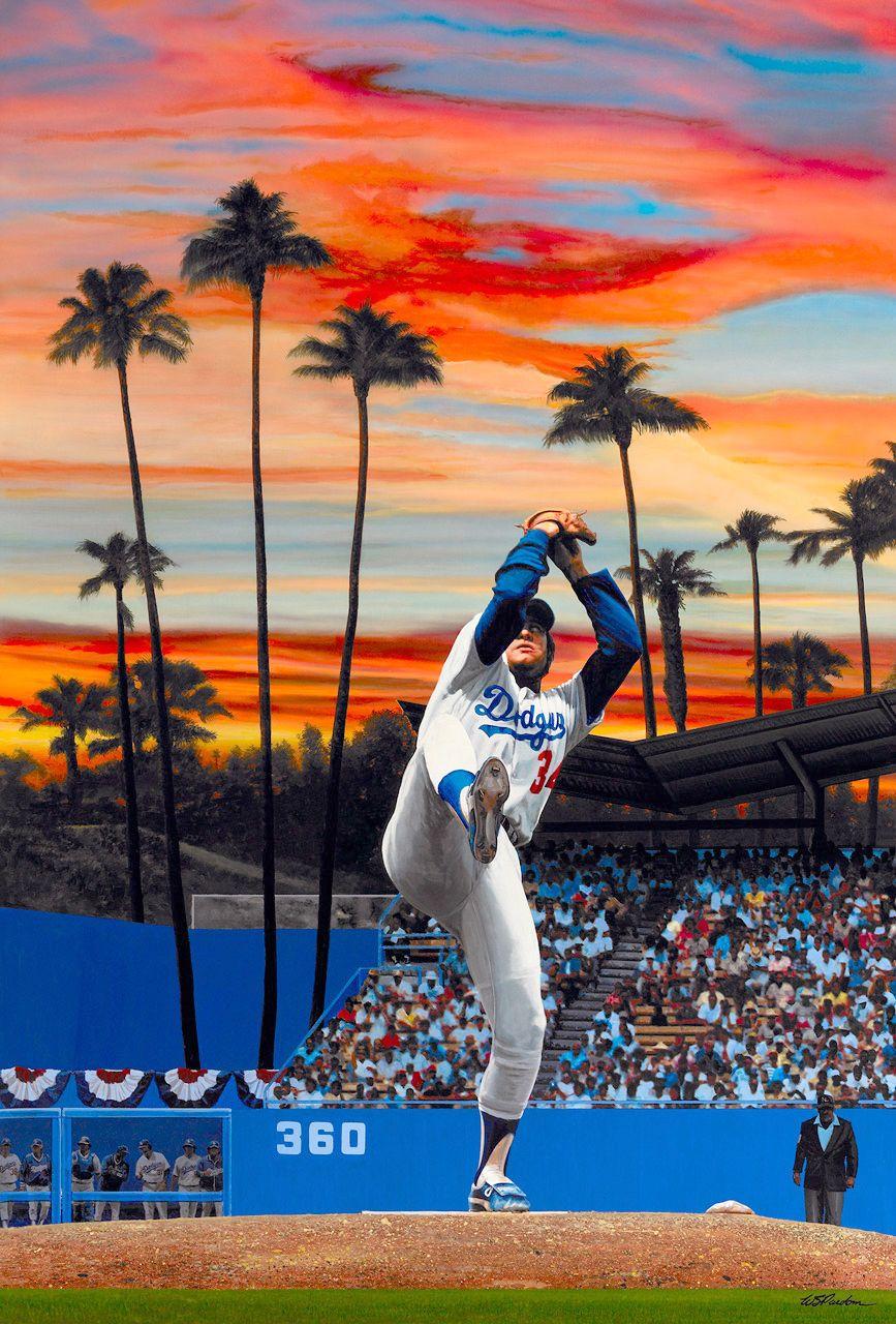 Fernando Valenzuela. LA Dodgers. Artwork by Bill Purdom