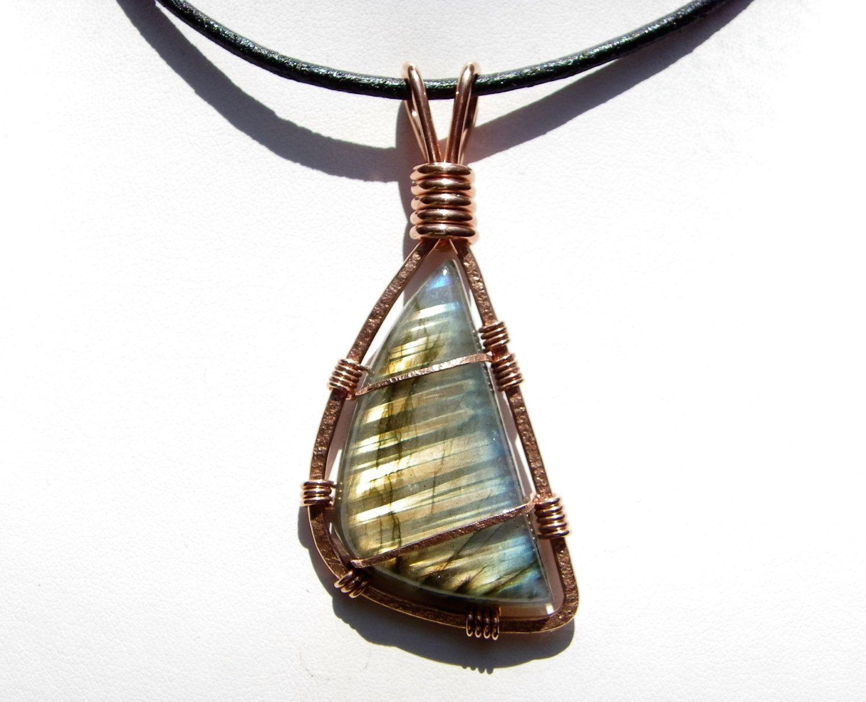 Labradorite Pendant - Copper Wire Wrapped Pendant - Labradorite ...