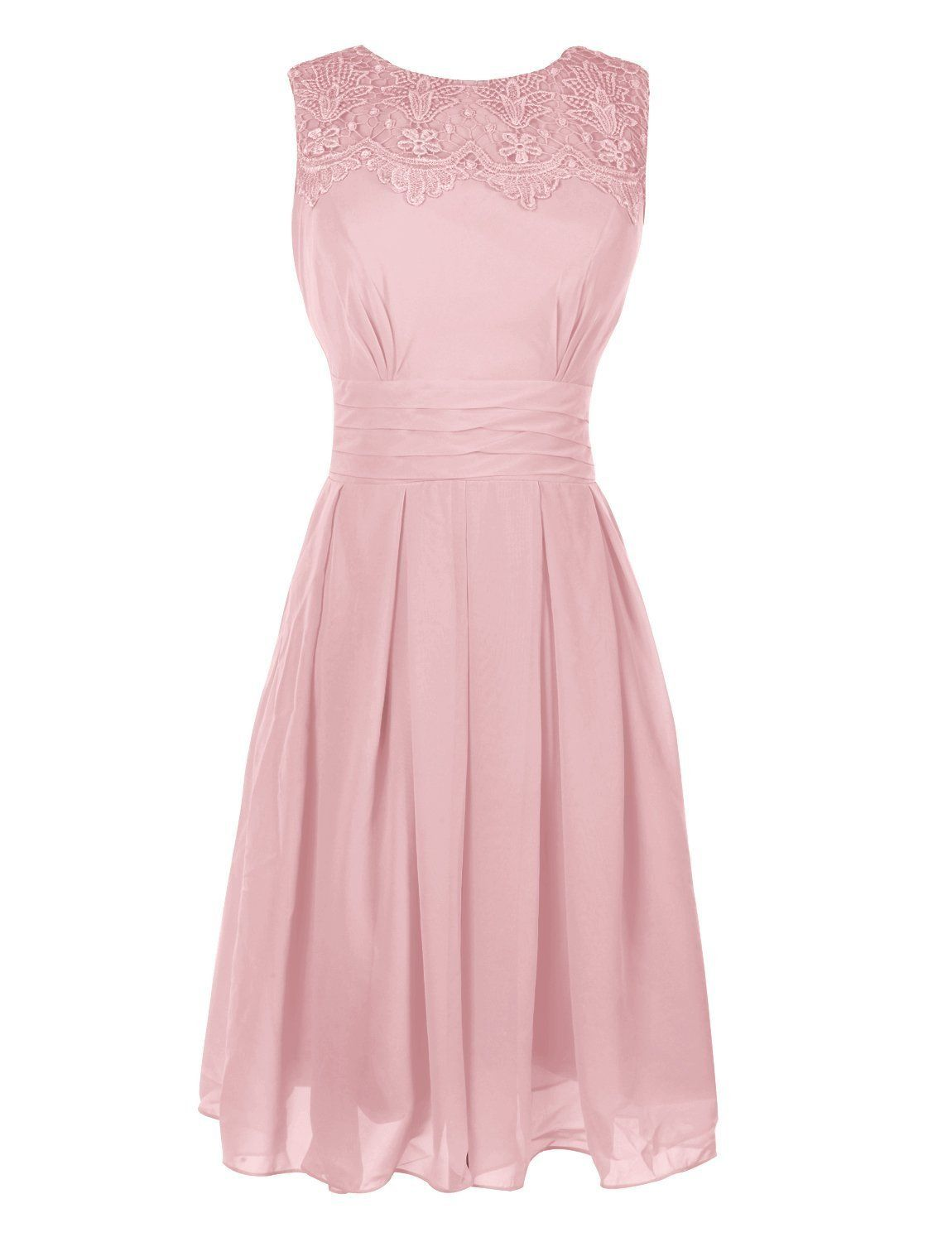 Ouman Short Prom Dress Bridesmaid Gowns with Appliques Neckline Blush Large