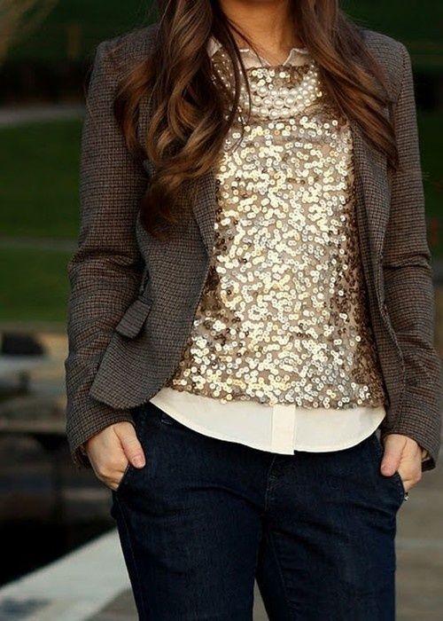 sparkle top + button-up + blazer! I LOVE.