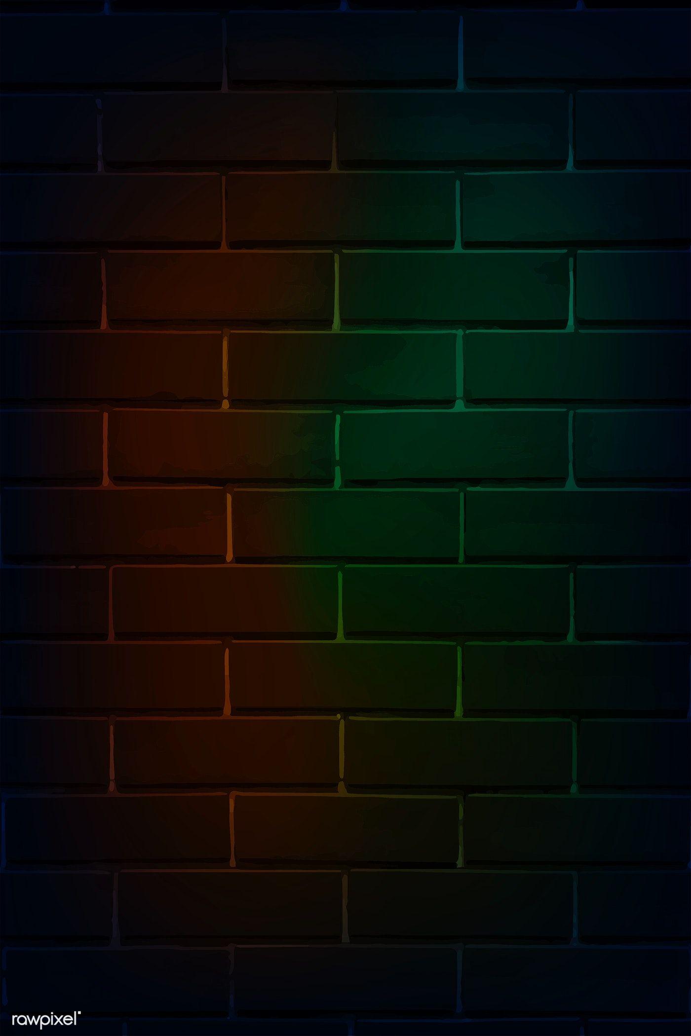 Download Premium Vector Of Brick Wall In Neon Light Vector 1229914 Neon Wallpaper Neon Lighting Brick Wall
