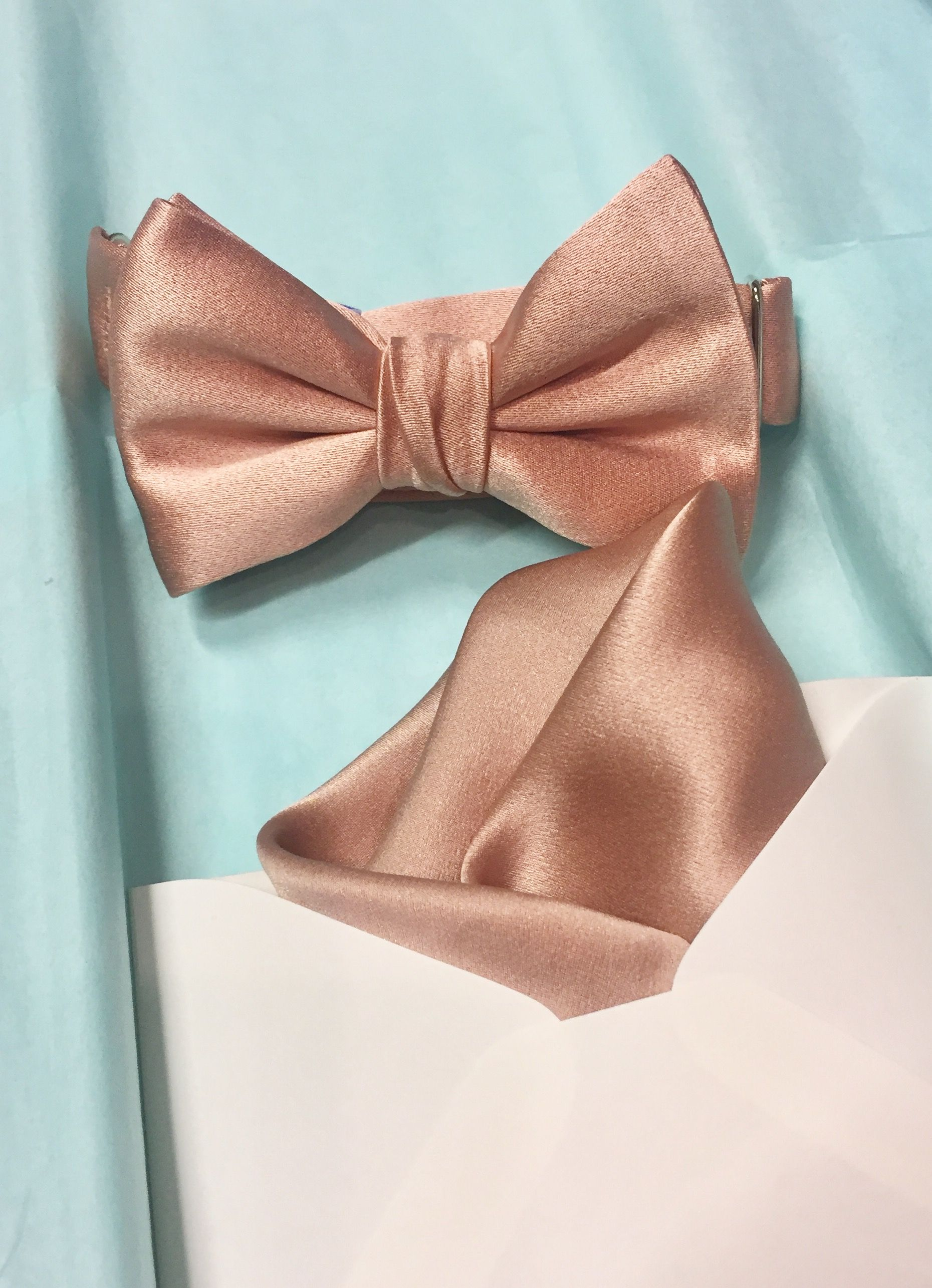 f5cecf640e51 Rose gold bow tie and pocket square for a wedding day. | Rose Gold ...