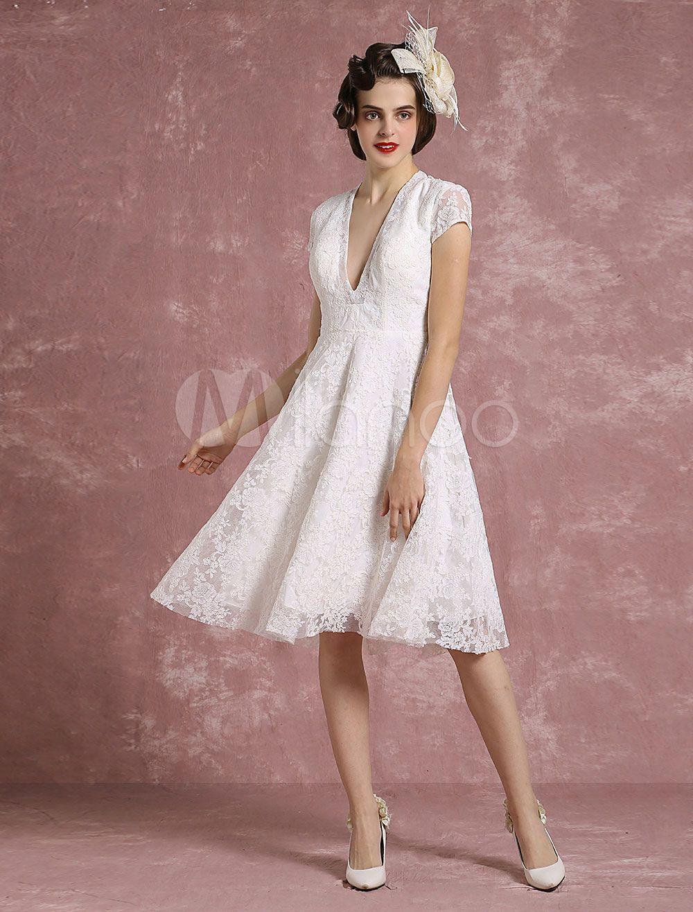 Kurze Hochzeit Kleid Spitze Ivory Brautkleid V Neck rückenfreie eine ...