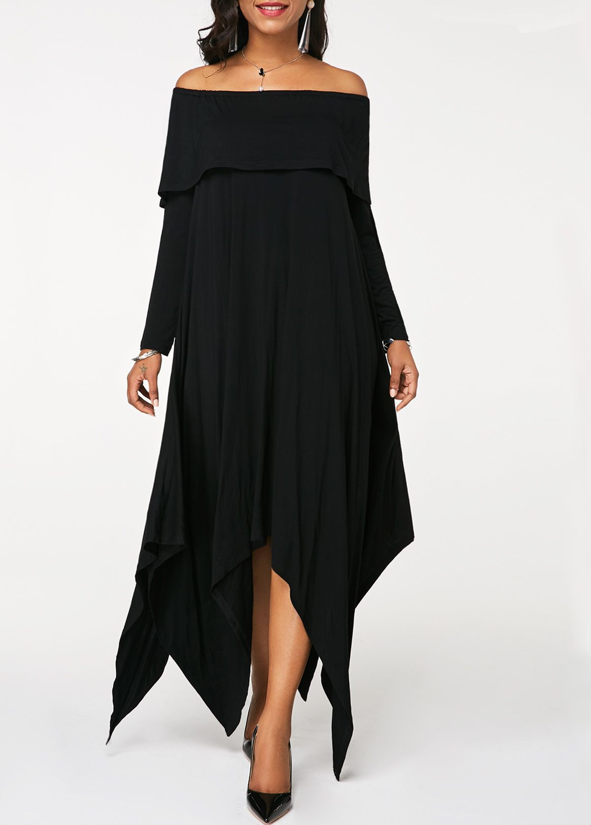 f43fb6e0eedc Asymmetric Hem Black Off the Shoulder Maxi Dress | Rosewe.com - USD $25.39