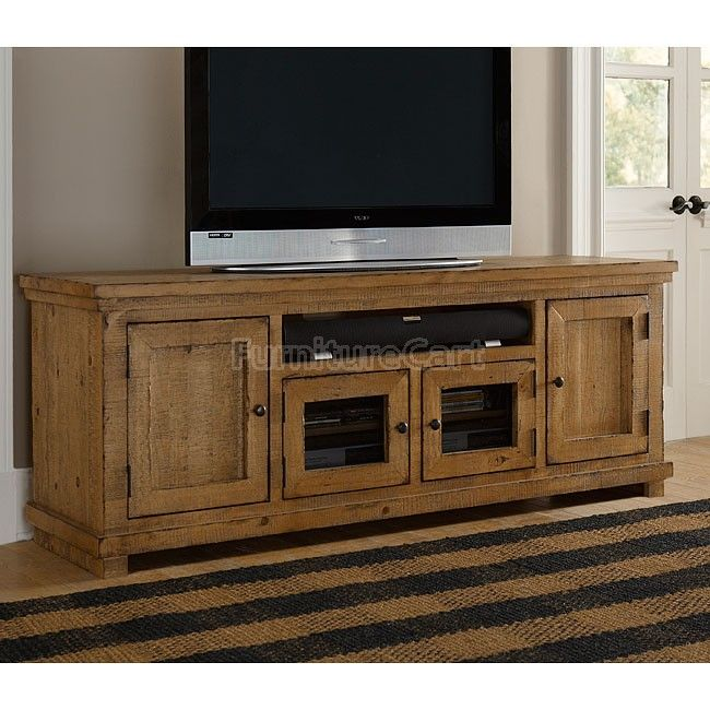 Willow 74 Inch Entertainment Console Distressed Pine