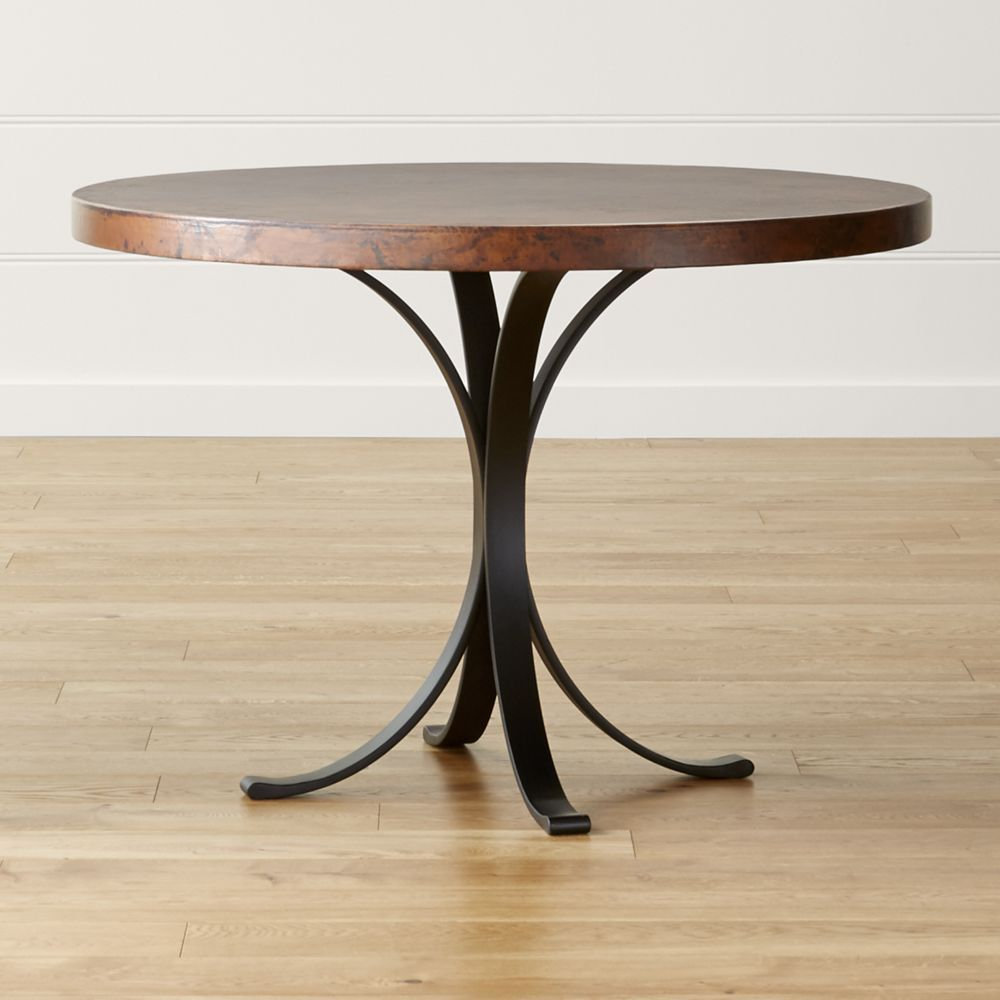 Copper Top Kitchen Table Cobre 42 Round Iron Bistro Table With Copper Top Crate And