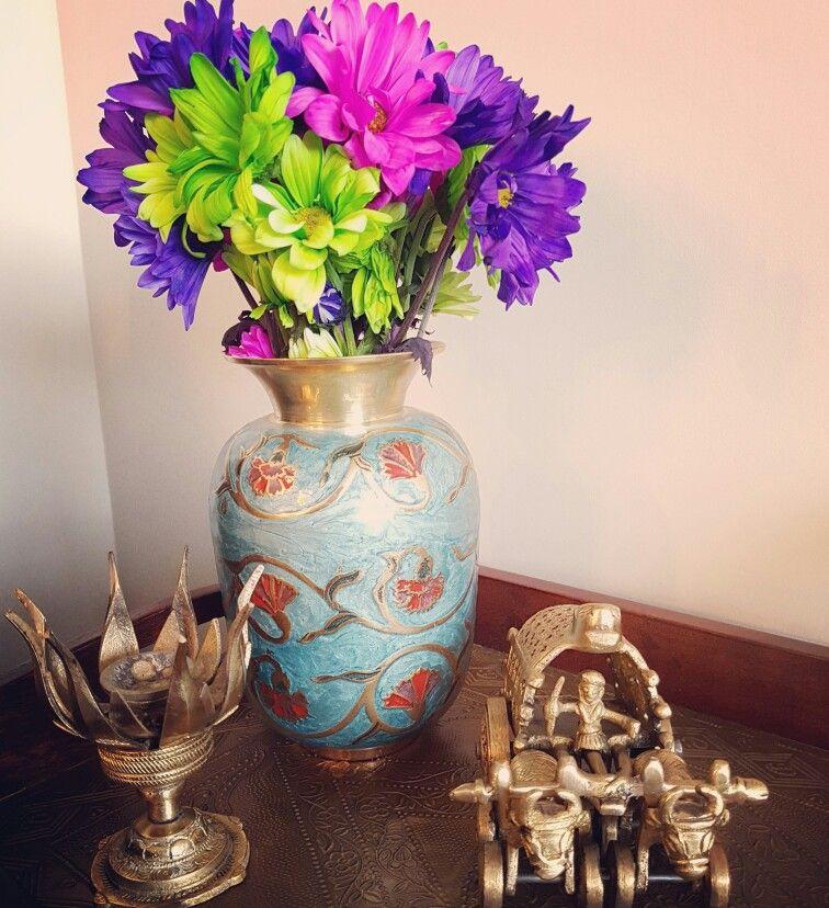 Brass Artifacts Fresh Flowers Corner Of My Home Home Decor