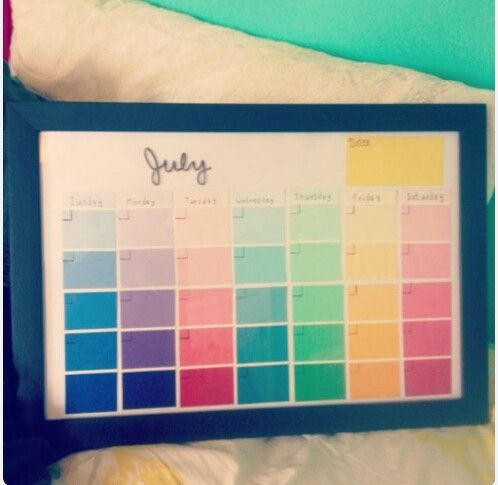 Diy Calender From Paint Sample Cards