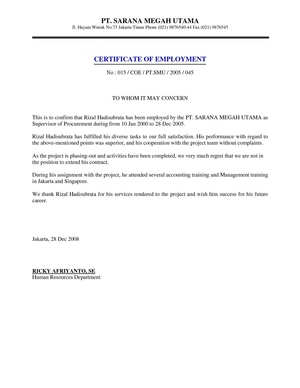Job Employment Certificate Sample Certification Letter
