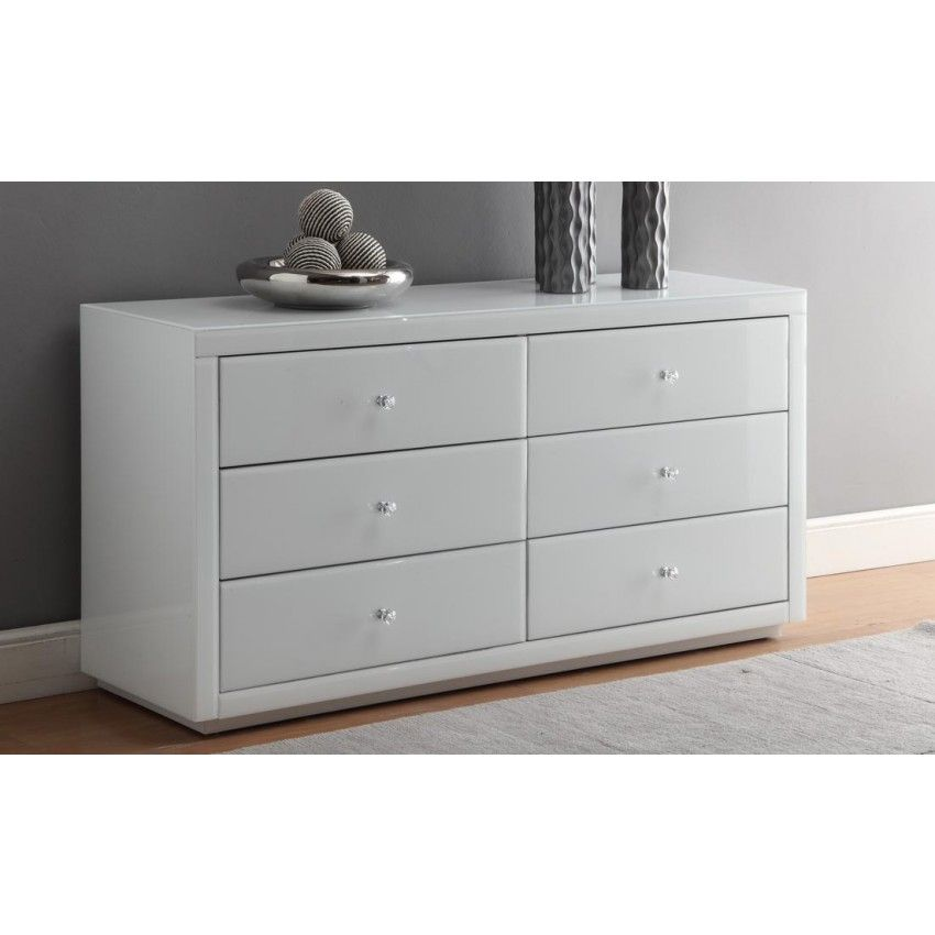 vegas white glass mirrored bedside tables. Contemporary Glass VEGAS Mirrored WHITE GLASS 6 Drawer Dressing Table Or Low Chest Intended Vegas White Glass Bedside Tables
