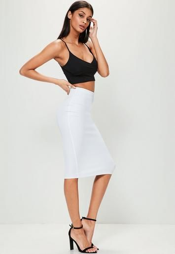 13f0d2e6d7 Freshen up your look with this luxe midi skirt - featuring figure-flattering  scuba fabric and a forever on trend white hue.