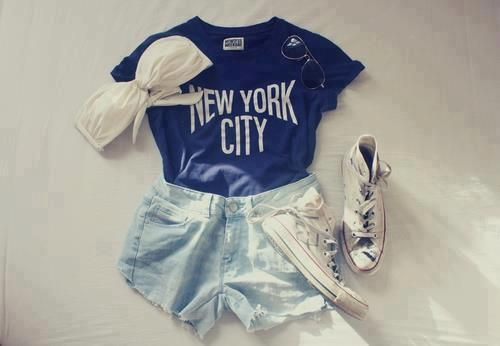 Summer in the city, New York City tee, bleached denim short, swimwear, summer outfit, casual, fashion, style