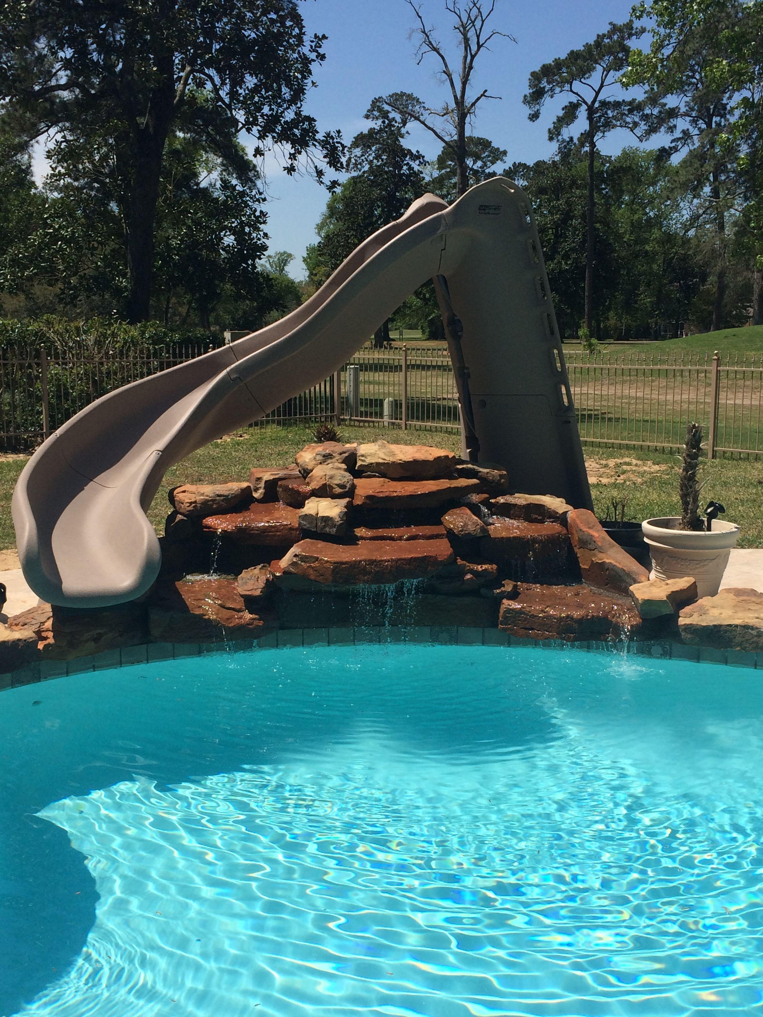 Inground Swimming Pool Turbo Twister Slide Rock Waterfall