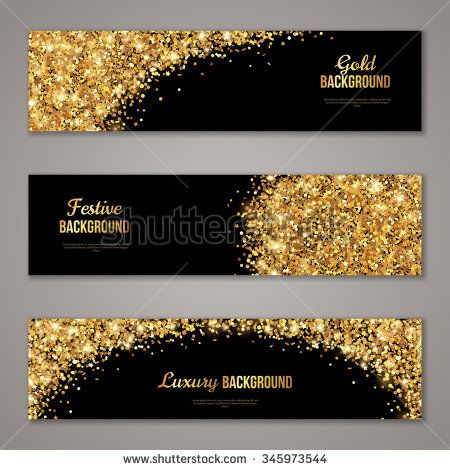 Horizontal black and gold banners set greeting card design golden horizontal black and gold banners set greeting card design golden dust vector illustration stopboris Images