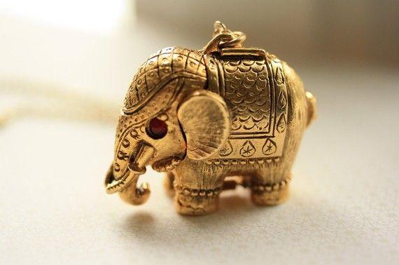 1960s Vintage Elephant Locket Large Perfume Pendant Gold