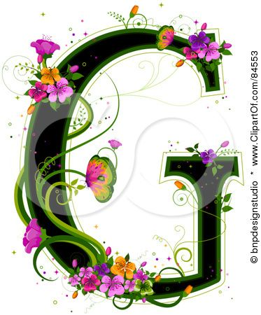 84553 black capital letter g outlined in green