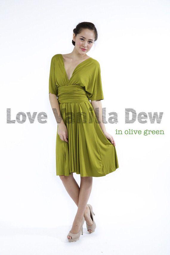 Bridesmaid Dress Infinity Dress Straight Hem Olive Green Knee Length ...