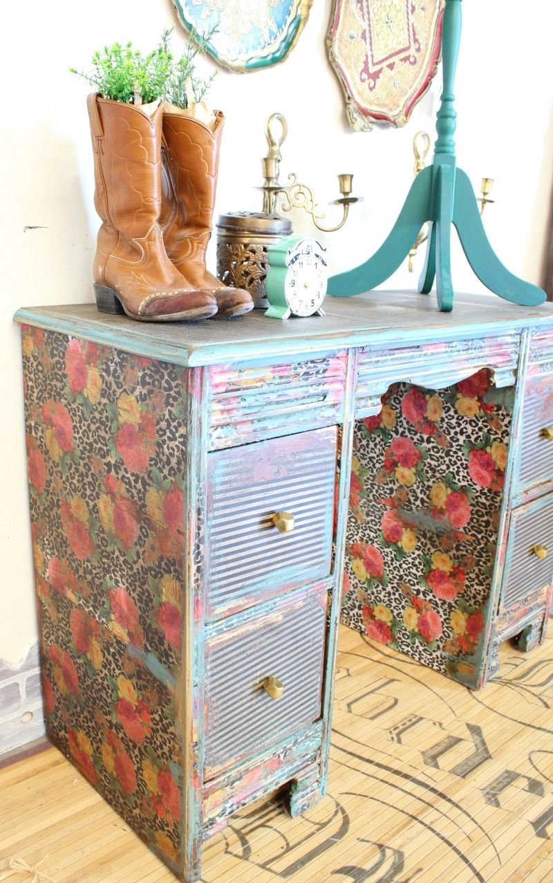 How To Decoupage a Desk  Refunk My Junk  Decoupage Furniture Makeover  Girls Desk  The Best