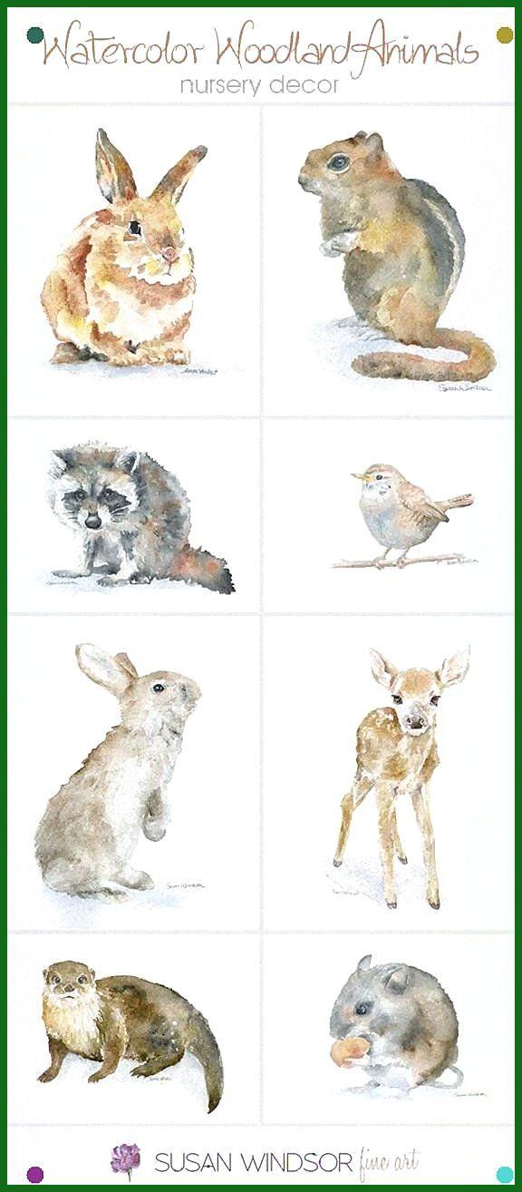 Woodland Animal Watercolor Prints Wanddekoration z. Hd