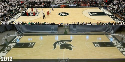 Freshly Painted Breslin Center Floor With New Larger Spartan Logo At Center Court Spartan Logo Michigan State University Special Places