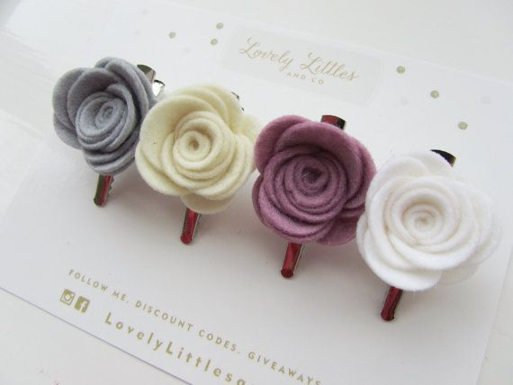 THE DARCEY COLLECTION! Girl/baby hair clip, 4 Large Rose 100% wool felt, Silver Alligator Clip - Any Colour Mix!