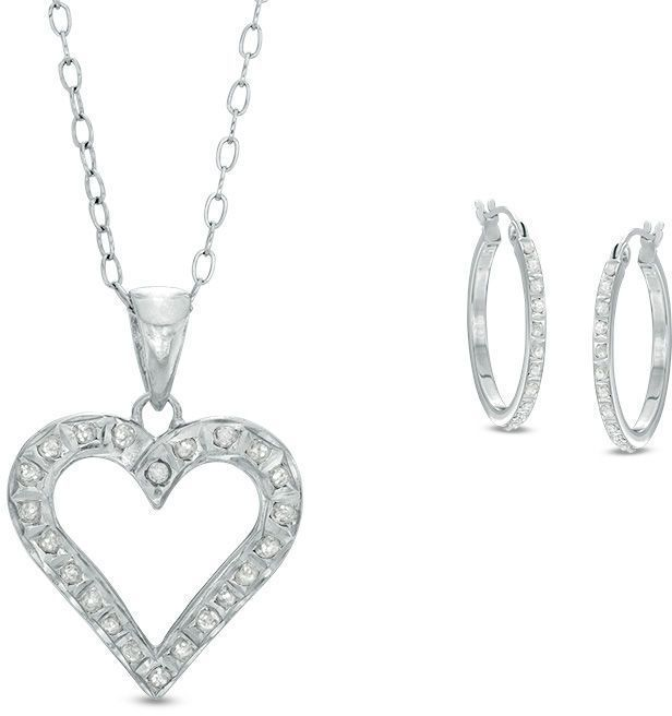 Zales Diamond Fascination Heart Pendant and Hoop Earrings Set in Sterling Silver and Platinum Plate EWpnf8Zy1