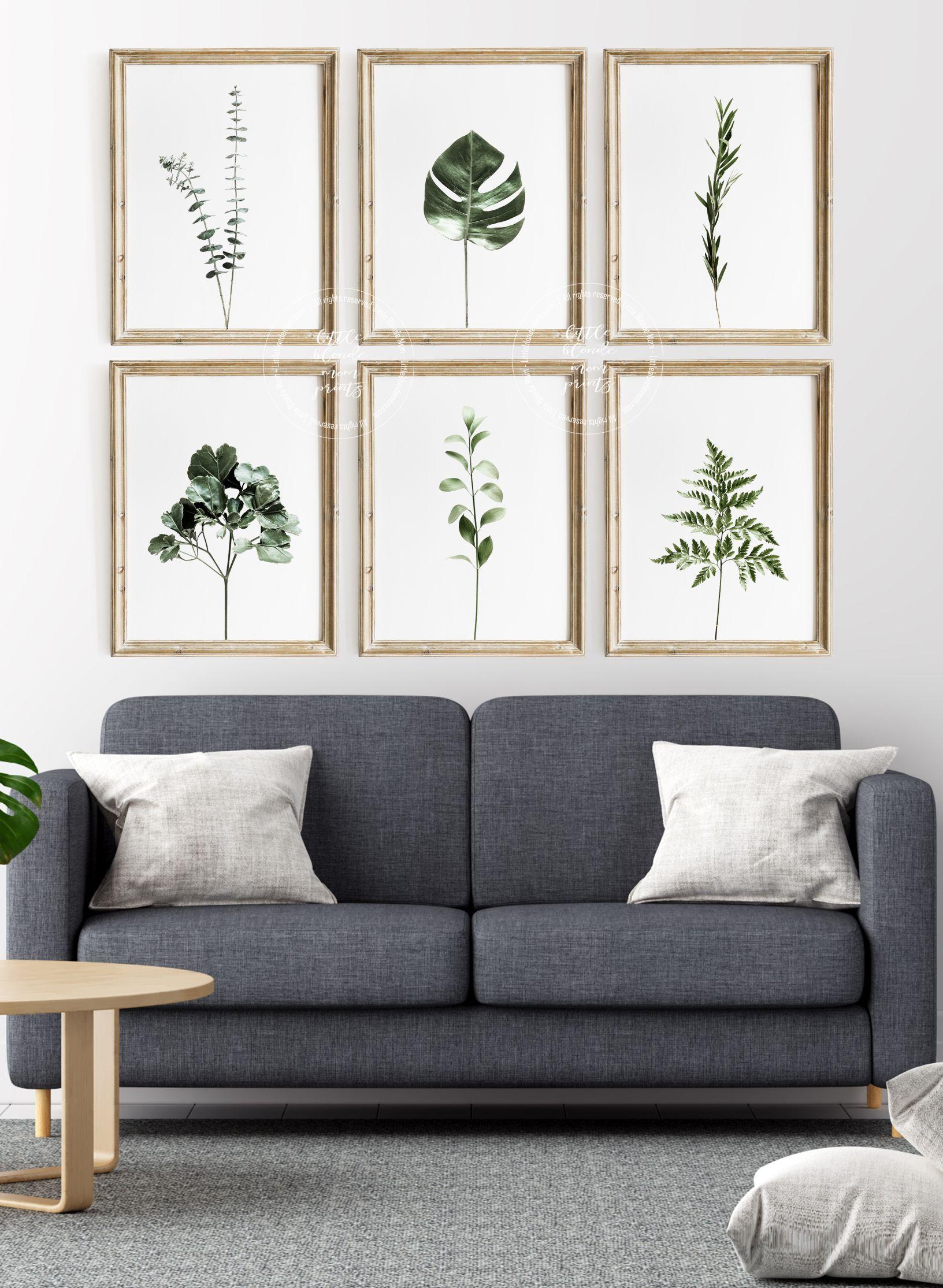 Botanical Print Set Of 6 Eucalyptus Wall Art Palm Plants Etsy