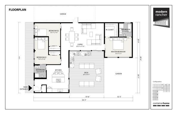 Modern Rancher Concept floor plan home improvement Pinterest