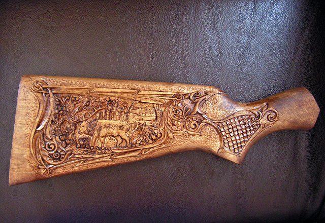 Wood carving on gun stock i gotta make one pinterest