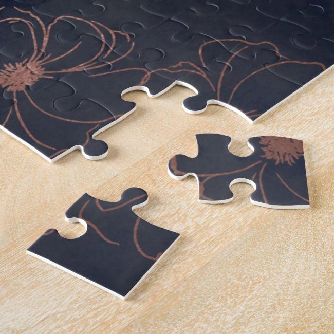 Navy Blue & Rose Gold Foil Flower Girl Proposal Jigsaw