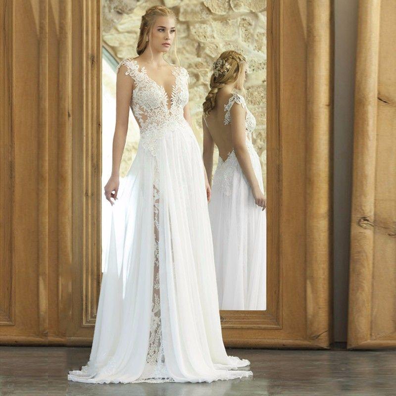 Backles Lace Split Chiffon Beach Wedding Dress | Vintage bohemian ...