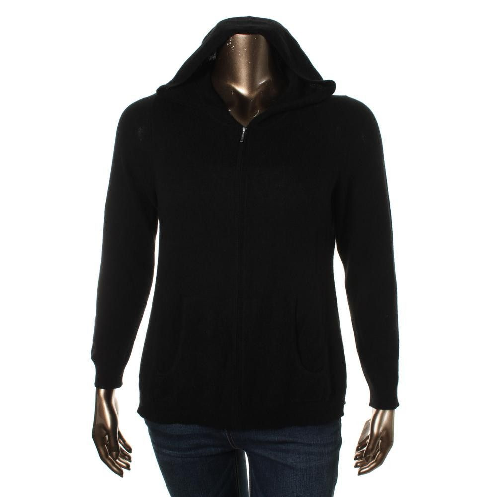 Charter Club Womens Plus Cashmere Hooded Full Zip Sweater