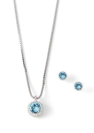 On Ideel Swarovski Flirt Aquamarine Necklace And Earring Set