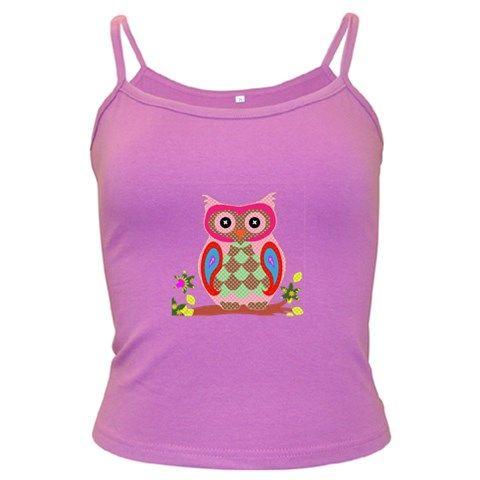 Owl+Colorful+Patchwork+Art+Dark+Spaghetti+Tank