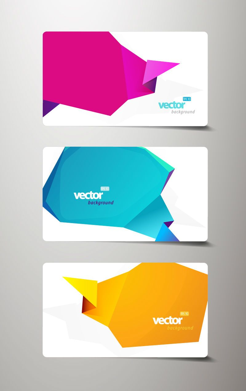Shaped origami decorative banner vector material designs free set of fashion business cards with abstract origami backgrounds titanui jeuxipadfo Gallery