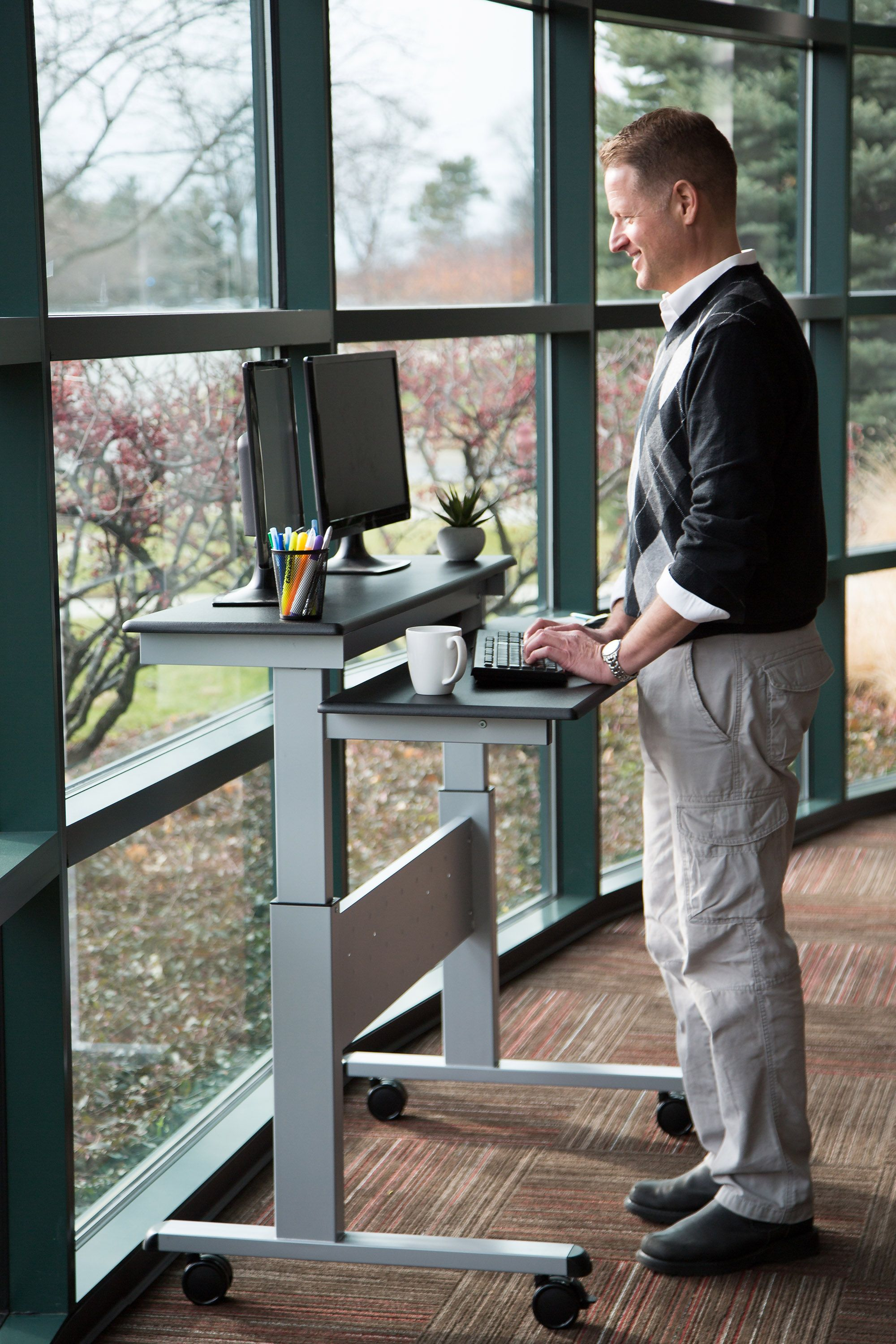 Two Tier Electric Standing Desk Electric Standing Desk Desk Stand Up Desk