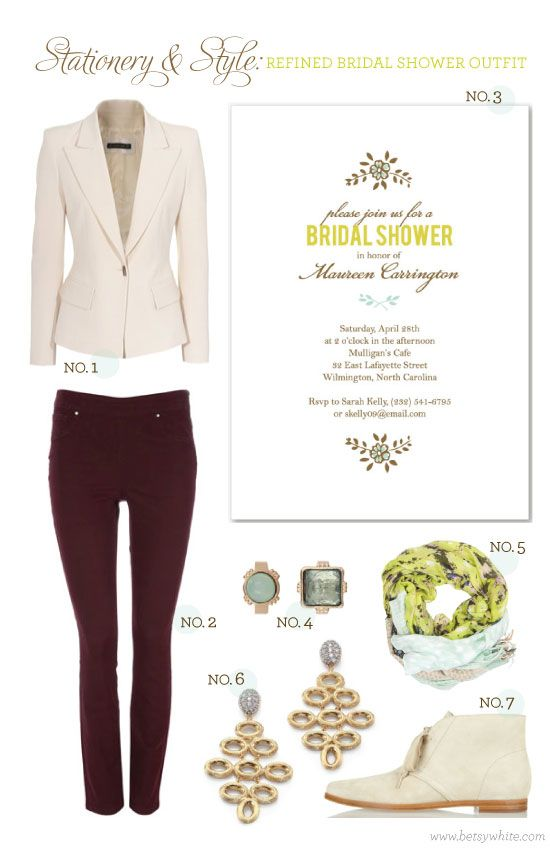 stationery style casual fall bridal shower outfit featuring our simple swag bridal shower invitation