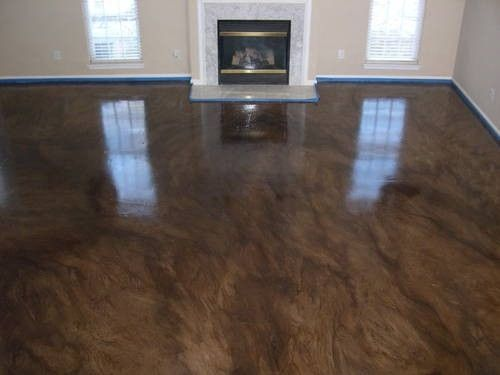 Stained concrete flooring by christian basement ideas for Residential concrete floor wax