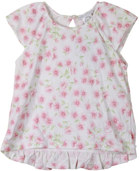Baby Cottons Floral Flutter Sleeve Short Sleeve Top Size 3